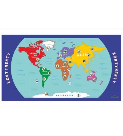 Kontynenty - mata edukacyjna + 42 obrazki zwierząt i mieszkańców