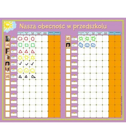 Suchościeralna tablica obecności dzieci w przedszkolu (60cm x 80cm)