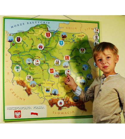 Magnetyczna mapa Polski dla dzieci (80cm x 80cm)